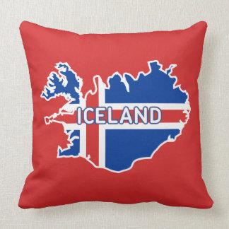 Mapa de Islândia com bandeira Almofada