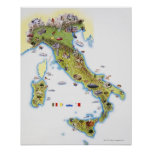 Mapa de Italia Impressão