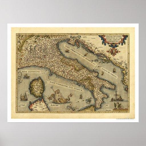 Mapa de Italia por Ortelius 1570 Pôsteres