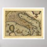 Mapa de Italia por Ortelius 1570 Poster