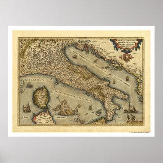 Mapa de Italia por Ortelius 1570 Impressão