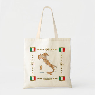 Mapa de Italia + Saco das bandeiras Bolsa Para Compra