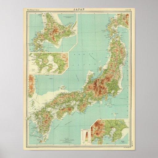 Mapa de Japão com rotas de transporte Posters