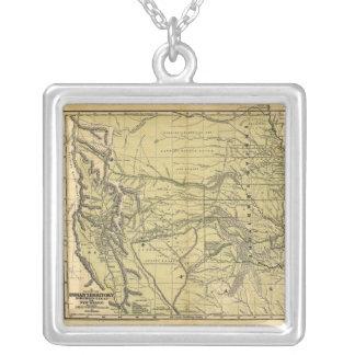 Mapa de Josiah Gregg 1844 do território indiano Colar Com Pendente Quadrado