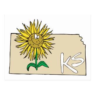 Mapa de Kansas KS com desenhos animados de sorriso Cartão Postal