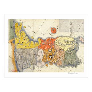 Mapa de KoreaPanoramic do Norte e Sul Cartão Postal