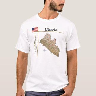 Mapa de Liberia + Bandeira + T-shirt do título Camiseta