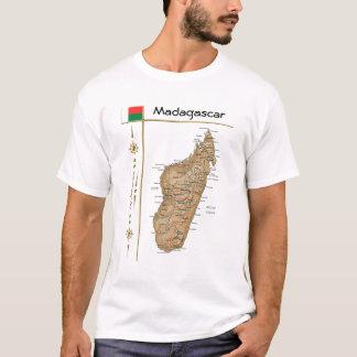 Mapa de Madagascar + Bandeira + T-shirt do título Camiseta