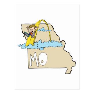 Mapa de Missouri MO com desenhos animados do arco Cartão Postal