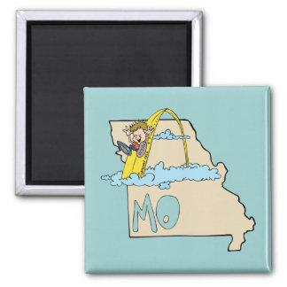 Mapa de Missouri MO com desenhos animados do arco Ímã Quadrado