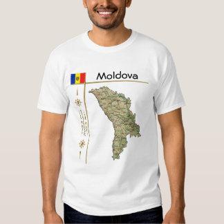 Mapa de Moldova + Bandeira + T-shirt do título