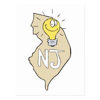 Mapa de New-jersey NJ com desenhos animados Cartão Postal