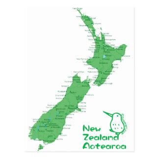 Mapa de Nova Zelândia Cartão Postal