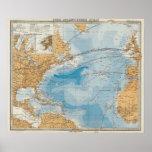 Mapa de Oceano Atlântico norte Posters