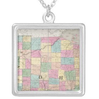Mapa de Ohio e de Indiana Colar Banhado A Prata