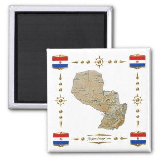 Mapa de Paraguai + Ímã das bandeiras Ímã Quadrado