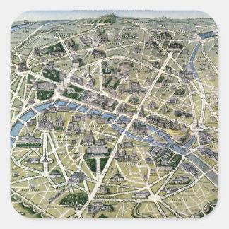 Mapa de Paris durante 'os Grands Travaux Adesivo Quadrado