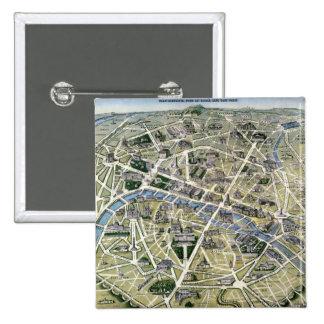 Mapa de Paris durante 'os Grands Travaux Bóton Quadrado 5.08cm