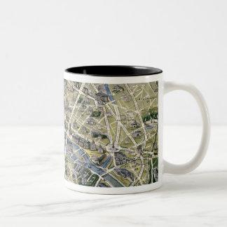 Mapa de Paris durante 'os Grands Travaux Caneca Dois Tons