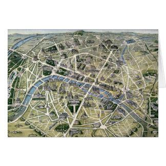 Mapa de Paris durante 'os Grands Travaux Cartão