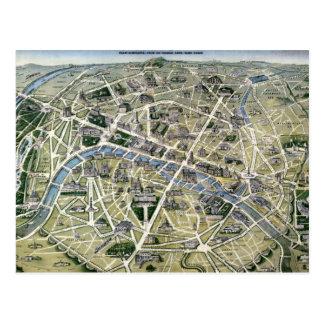 Mapa de Paris durante 'os Grands Travaux Cartão Postal