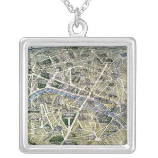 Mapa de Paris durante 'os Grands Travaux Colar Com Pendente Quadrado