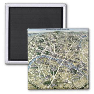 Mapa de Paris durante 'os Grands Travaux Ímã Quadrado