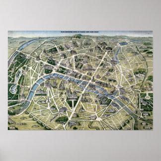 Mapa de Paris durante 'os Grands Travaux Posters