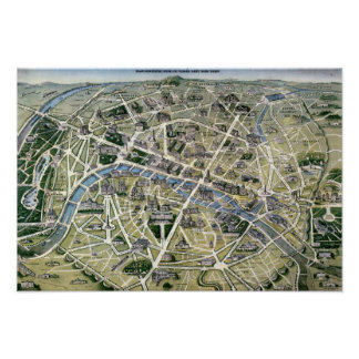 Mapa de Paris durante 'os Grands Travaux Poster