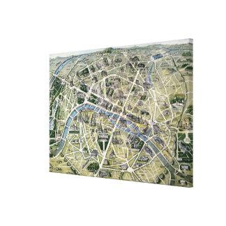 Mapa de Paris durante 'os Grands Travaux Impressão Em Tela Canvas