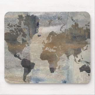 Mapa de pedra cinzento do mundo mouse pad