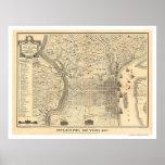 Mapa de Philadelphfia como era em 1776 por Varte Posteres
