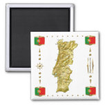 Mapa de Portugal + Ímã das bandeiras Ímã Quadrado
