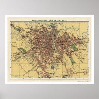 Mapa de Sao Paulo por Cococi 1913 Pôster