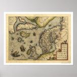 Mapa de Scandanavia por Ortelius 1570 Poster