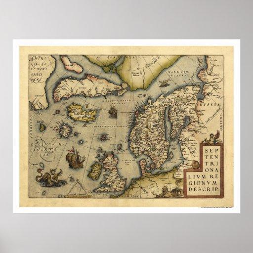 Mapa de Scandanavia por Ortelius 1570 Posters