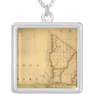 Mapa de Shelton e de Kensett do estado de Indiana Colar Banhado A Prata