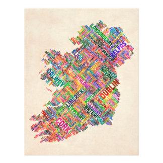 Mapa de texto da cidade de Ireland Eire Flyer 21.59 X 27.94cm