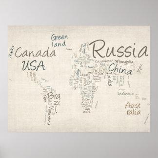 Mapa de texto da escrita do mapa do mundo pôster