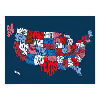 Mapa de texto da tipografia dos Estados Unidos