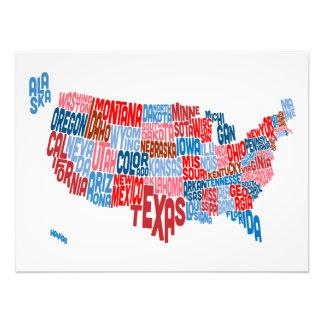 Mapa de texto da tipografia dos Estados Unidos Fotografias