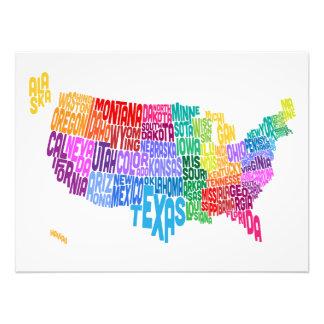 Mapa de texto da tipografia dos Estados Unidos Fotografia