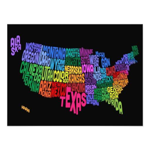 Mapa de texto da tipografia dos Estados Unidos Impressão De Foto