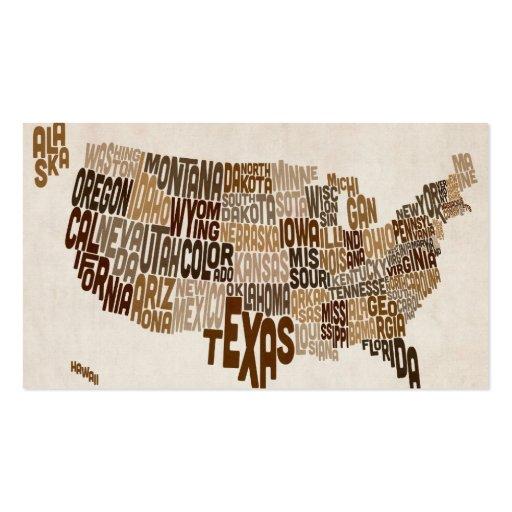 Mapa de texto da tipografia dos Estados Unidos Modelos Cartoes De Visitas