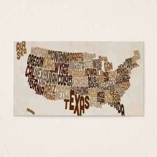 Mapa de texto da tipografia dos Estados Unidos Cartão De Visitas