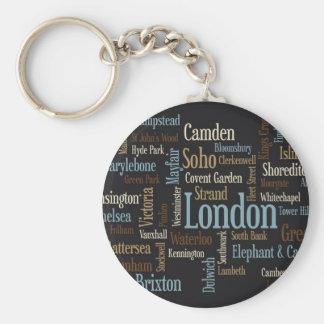 Mapa de texto de Londres Chaveiro