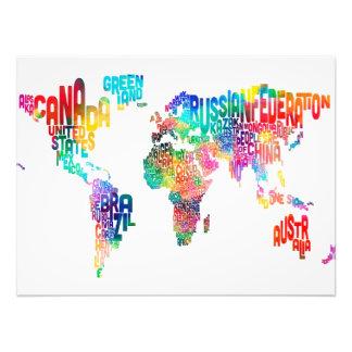 Mapa de texto do mundo impressão fotográfica