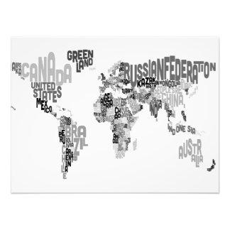 Mapa de texto do mundo impressão de foto