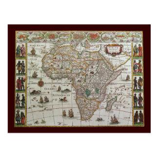 Mapa de Velho Mundo antigo de África, C. 1635 Cartões Postais