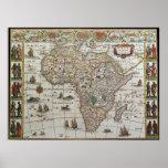 Mapa de Velho Mundo antigo de África, C. 1635 Impressão